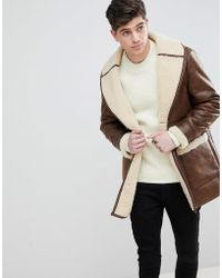 Mango - Man Borg Lined Aviator Coat In Chocolate - Lyst