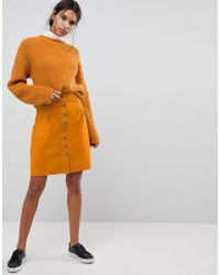 SELECTED - Suede Button Up Skirt - Lyst
