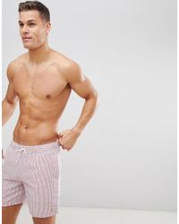 Farah - Colbert Seersucker Swim Shorts In Pink - Lyst
