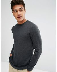 ASOS - Longline Cotton Jumper In Charcoal - Lyst