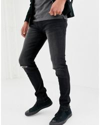 D-Struct Skinny Fit Ripped Knee Denim Jeans In Washed Black