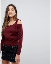 Fashion Union - Knit Cold Shoulder Jumper With Tie Sleeve Detail - Lyst
