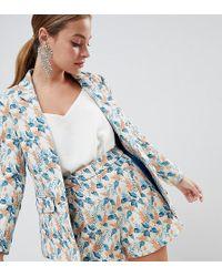 ASOS - Asos Design Petite Tailored Jacquard Wisteria Floral Blazer Two-piece - Lyst
