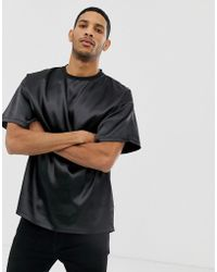 37346831bed8 Meng Stretch Silk-satin T-shirt in Black for Men - Lyst