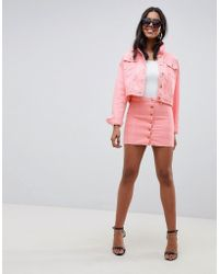 Liquor N Poker - Denim Button Through Skirt With Gold Hardware - Lyst