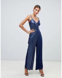 Little Mistress - Tuta jumpsuit blu navy a portafoglio con paillettes a contrasto - Lyst
