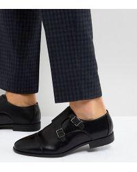 ASOS - Zapatos Monk de corte ancho en cuero sinttico negro con panel en relieve de ASOS - Lyst