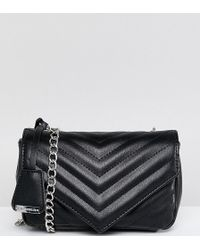 Glamorous - Quilted Chevron Cross Body Bag In Black - Lyst