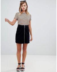 Monki - Cord Zip Up Mini Skirt In Navy - Lyst
