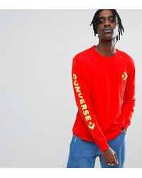 Converse - Long Sleeve Top With Arm Print In Red Exclusive To Asos - Lyst