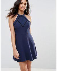 BCBGMAXAZRIA - Bcbg Front Mesh V Detailed A-line Dress - Lyst