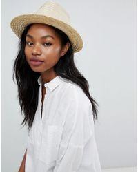 South Beach - Straw Fedora Hat With Cream Poms - Lyst