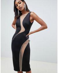 ASOS - Cut Out Diamante Mesh Detail Midi Bodycon Dress - Lyst