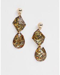 Missguided - Leopard Print Drop Earrings - Lyst