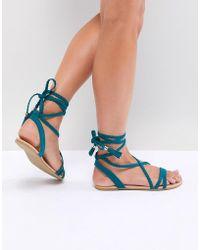 ASOS - Fayla Plaited Tie Leg Flat Sandals - Lyst