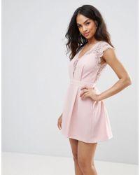 BCBGMAXAZRIA - Bcbg Lace Front Cocktail Dress - Lyst
