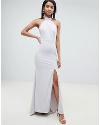 Jarlo - High Neck Fishtail Maxi Dress With Open Back Detail In Gray - Lyst