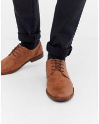 New Look - Faux Leather Derby Shoes In Tan - Lyst