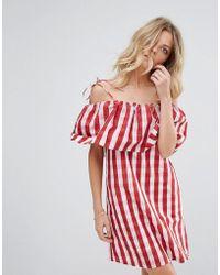 Mango - Gingham Bardot Smock Dress - Lyst