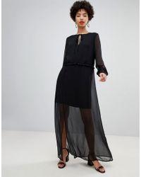 Lyst - Vero Moda Sheer Lace Insert Maxi Dress With Ruffle Hem in Natural b80371fae07