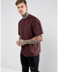 Religion - T-shirt In Faux Suede With Step Hem - Lyst