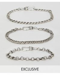Reclaimed (vintage) - Inspired Silver Chain Bracelets In 3 Pack Exclusive To Asos - Lyst
