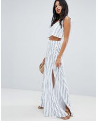 ASOS - Jersey Beach Co-ord Maxi Skirt In Stripe - Lyst