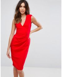 ASOS - Sleeveless Midi Dress With Shoulder Pads - Lyst
