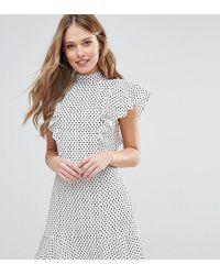 Closet - Ruffle Dress In Spot Print - Lyst