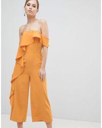 Lavish Alice - Off Shoulder Culotte Jumpsuit With Frill - Lyst