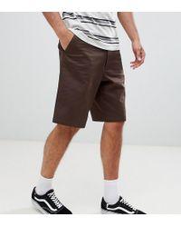 ASOS - Tall Slim Longer Shorts In Dark Brown - Lyst