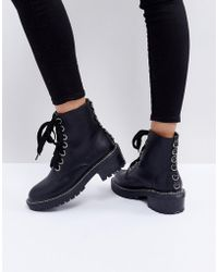 Lost Ink - Dax Black Studded Flat Ankle Boots - Lyst