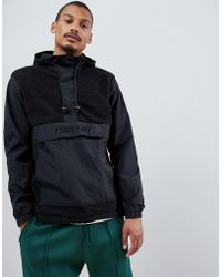 FairPlay - Overhead Nylon And Sherpa Jacket With Hood In Black - Lyst