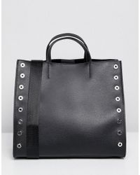 Pull&Bear - Studded Shopper In Black - Lyst