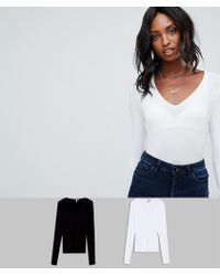 ASOS - Asos Design Tall Ultimate Top With Long Sleeve And V-neck 2 Pack Save - Lyst