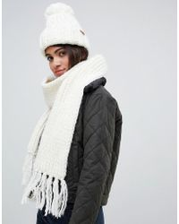 Barbour - Chunky Knit Bobble Hat And Scarf Set - Lyst