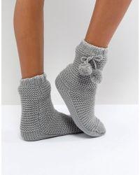 Oasis - Pom Pom Slipper Socks - Lyst