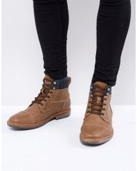 Call It Spring - Simoneau Lace Up Boots In Tan - Lyst