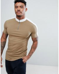 ASOS - Design Muscle Fit Turtle Neck T-shirt With Zip And Contrast Panels In Brown - Lyst