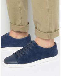 Dune - Tate Lo Sneakers In Navy Suede - Lyst