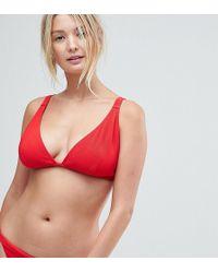 Wolf & Whistle - Red Rib Triangle Bikini Top - Lyst