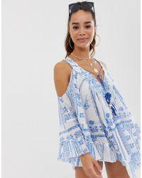 dd77c677ad ASOS - Cold Shoulder Tile Print Beach Dress With Mirror Trim Detail - Lyst
