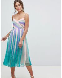 ASOS - Asos Colourblock Mesh Fit And Flare Midi Dress - Lyst