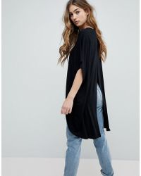 ASOS | Top With Kimono Sleeve And Dip Split Back | Lyst