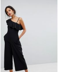 Oasis - Frill Front One Shoulder Tailored Jumpsuit - Lyst