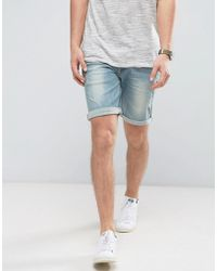 ASOS - Denim Shorts In Skinny With Abrasions Light Wash Blue - Lyst