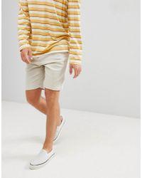 Bershka - Slim Fit Denim Shorts In Stone - Lyst