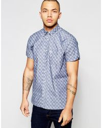 Dickens And Browne - Chambray Print Short Sleeved Shirt - Lyst