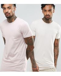 ASOS - Muscle Fit Longline T-shirt 2 Pack - Lyst