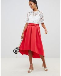 d9ca263c4d ASOS Asos Scuba Midi Skirt With Extreme Frill Hem in Pink - Lyst